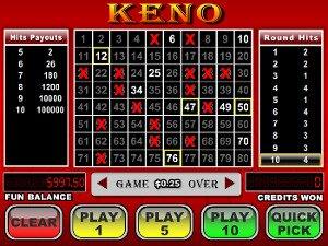 Playing online keno at Bovada.