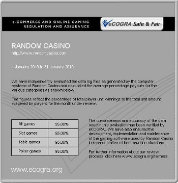 eCogra Payout Report