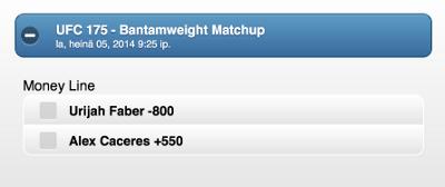 Urijah Faber is a big favourite against Alex Caceres.