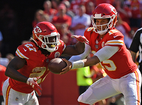 Kareem Hunt Patrick Mahomes Kansas City Chiefs NFL Betting Week 5